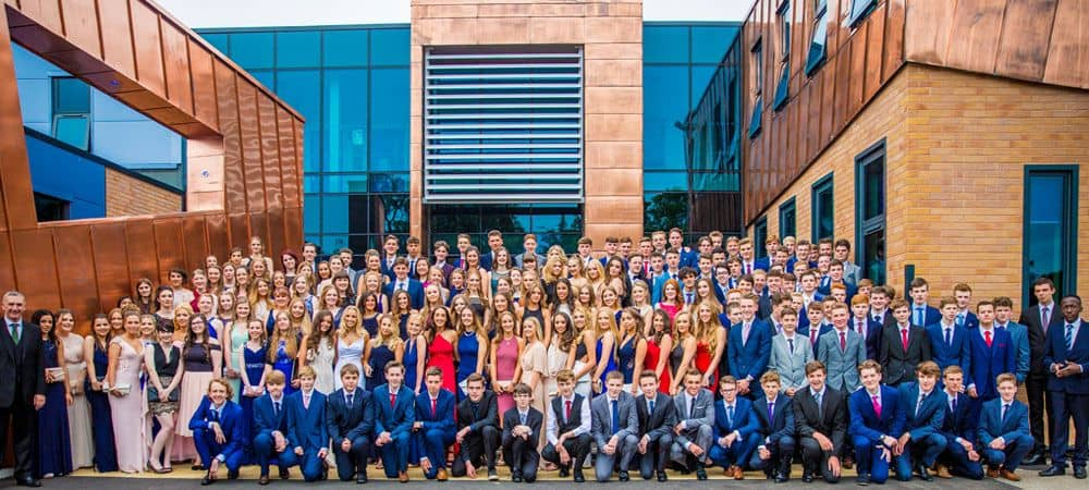 Christleton High School year photo with pupils and staff